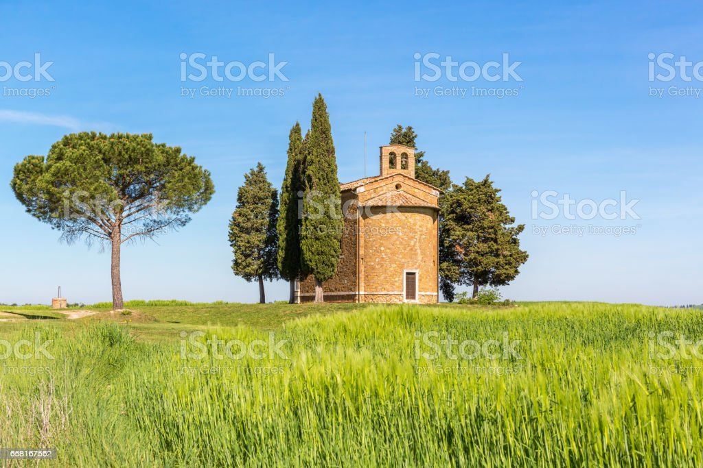 Chapel on a hill in a cornfield stock photo