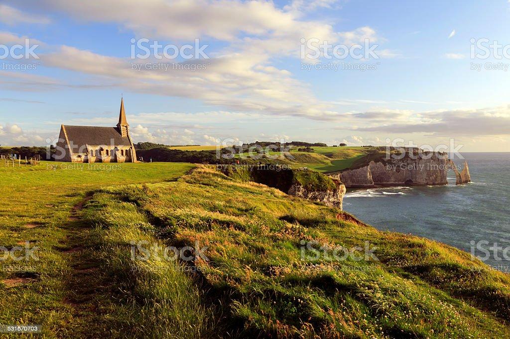 Chapel on the cliffs of Etretat stock photo