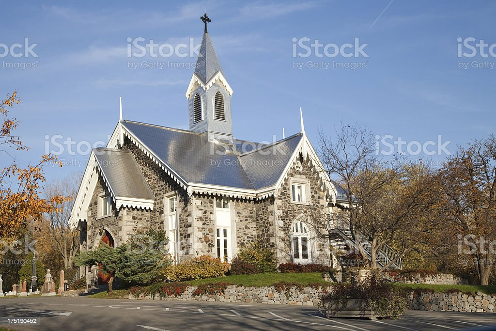 Chapel on top of Mont Royal in the cemetery royalty-free stock photo