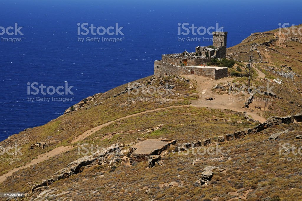 Chapel Saint Mamas.Andros island . Cyclades Greece stock photo