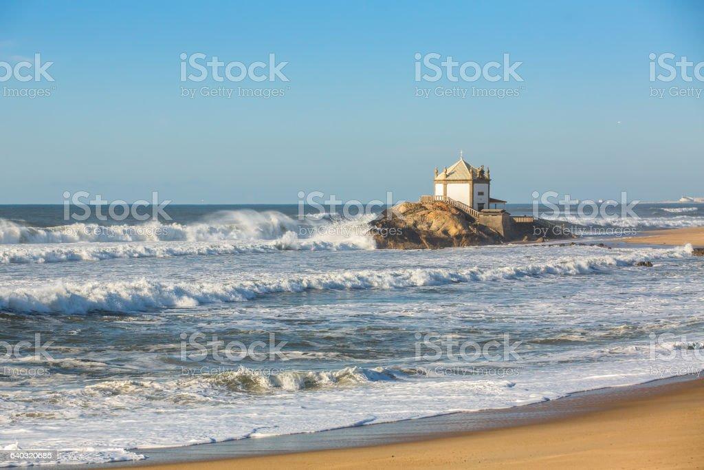 Chapel Senhor da Pedra at Miramar Beach stock photo