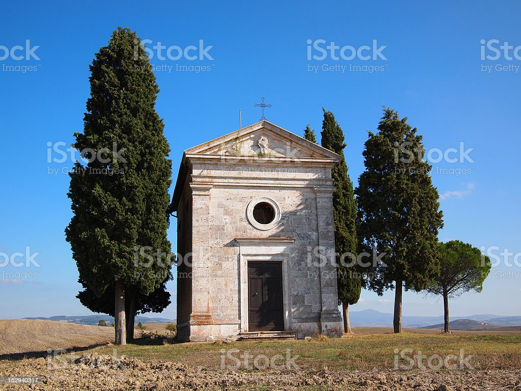 Chapel with trees royalty-free stock photo