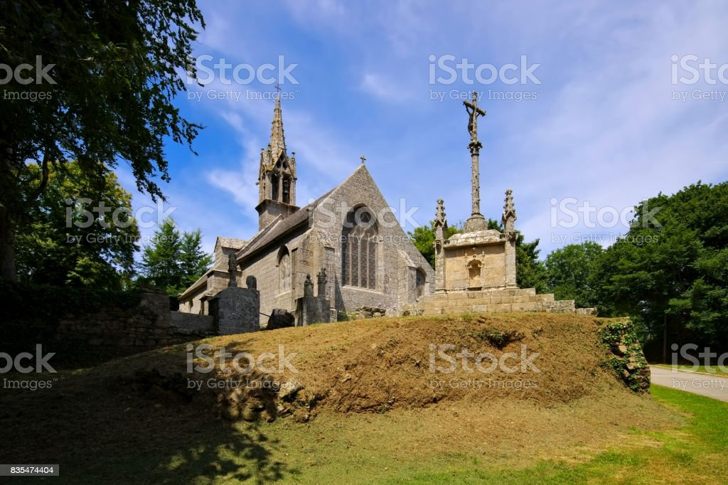 Chapelle Notre Dame de Bonne Nouvelle in Locronan, medieval village in Brittany, France stock photo