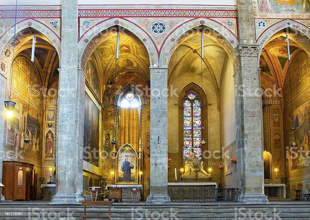Chapels in north transept of Basilica di Santa Croce stock photo