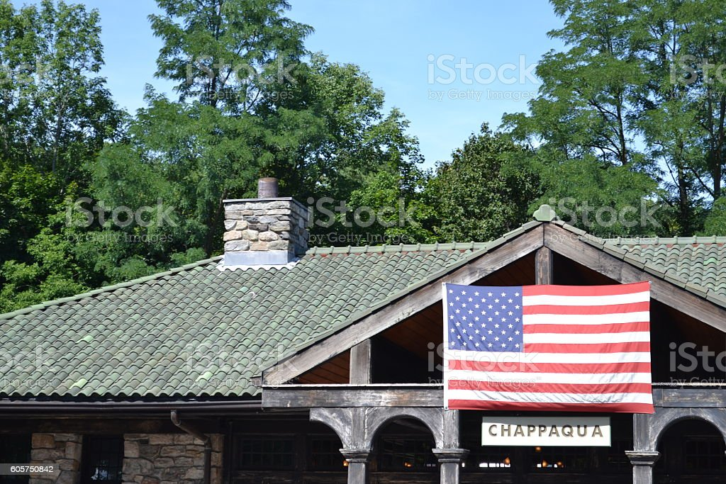 Chappaqua train station stock photo