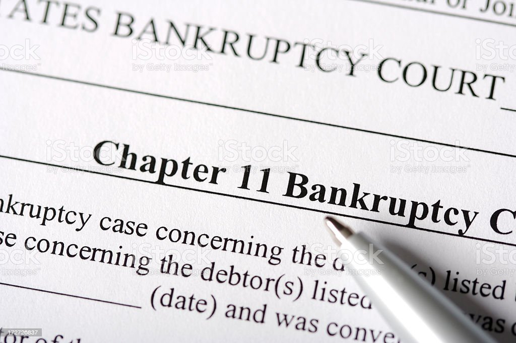 Chapter 11 Bankruptcy Paperwork stock photo