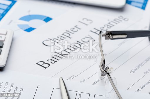 istock Chapter 13 bankruptcy form with paperwork 696067732