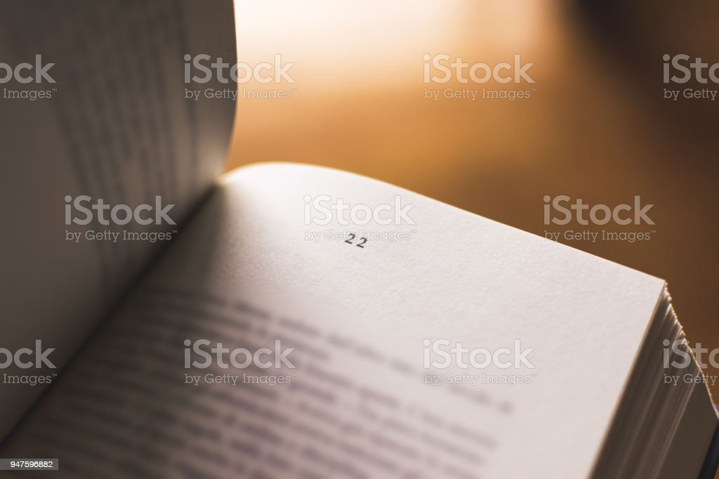 Chapter 22 of a Reading Book stock photo