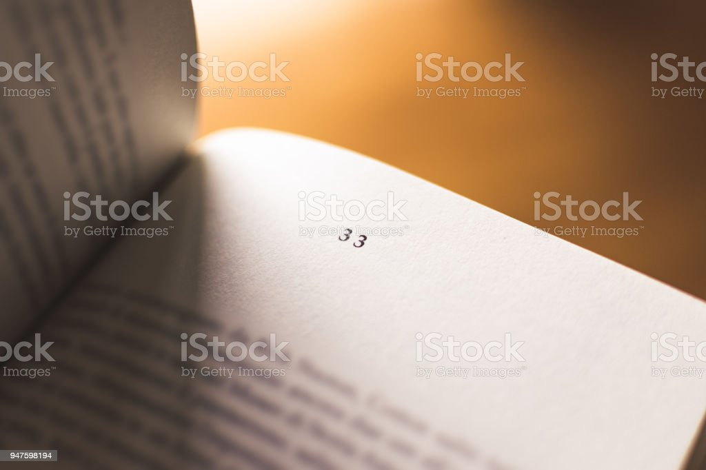 Chapter 33 of a Reading Book stock photo