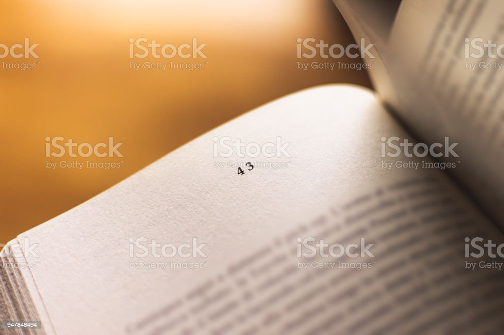 Chapter 43 of a Reading Book stock photo