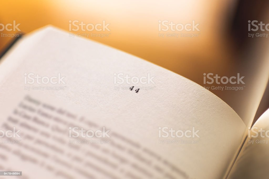 Chapter 44 of a Reading Book stock photo