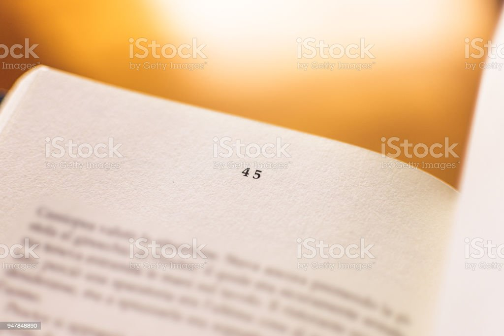 Chapter 45 of a Reading Book stock photo