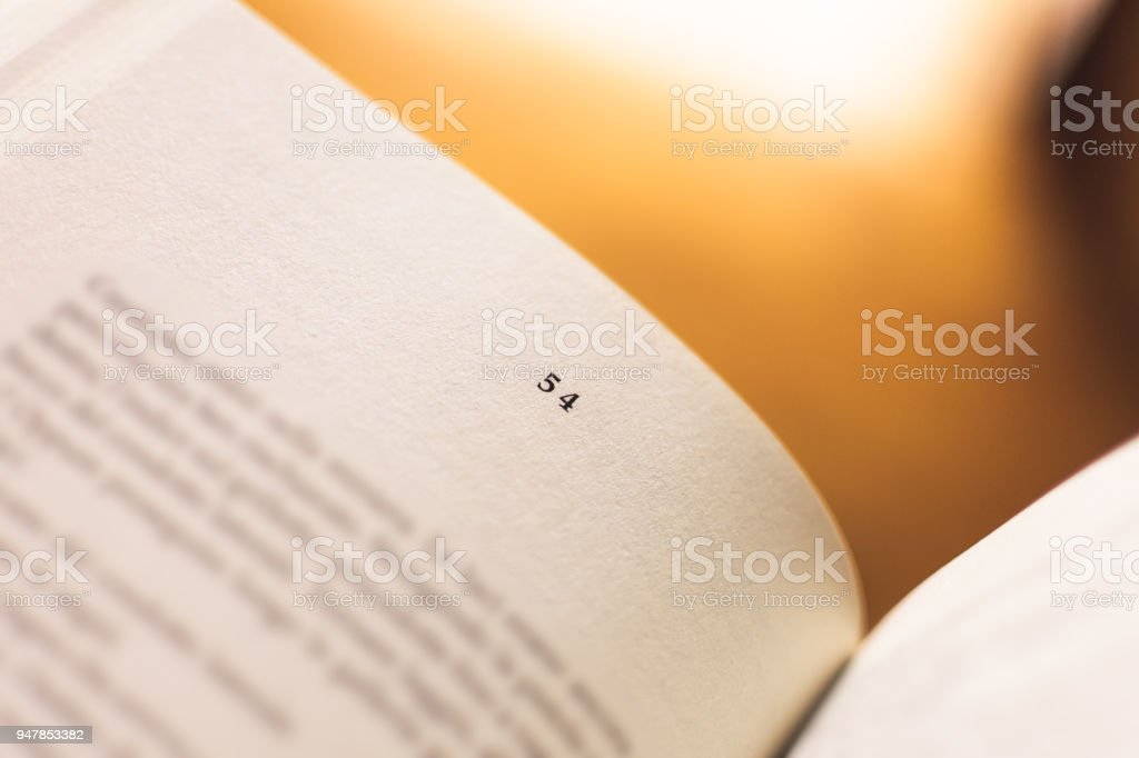 Chapter 54 of a Reading Book stock photo