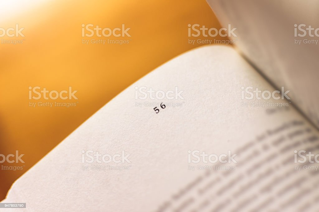 Chapter 56 of a Reading Book stock photo