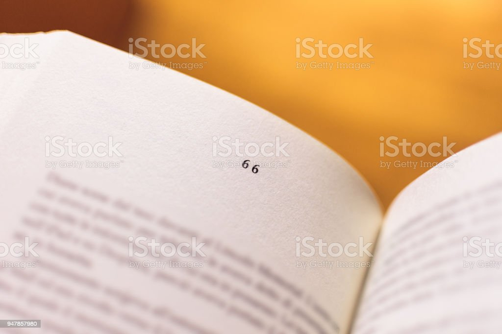 Chapter 67 of a Reading Book stock photo