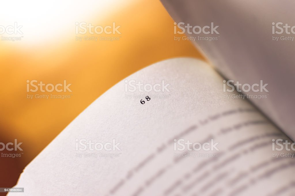 Chapter 68 of a Reading Book stock photo