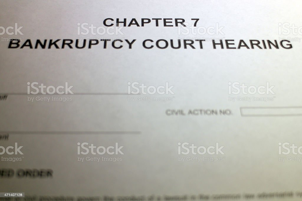 Chapter 7 Bankruptcy Court Hearing stock photo