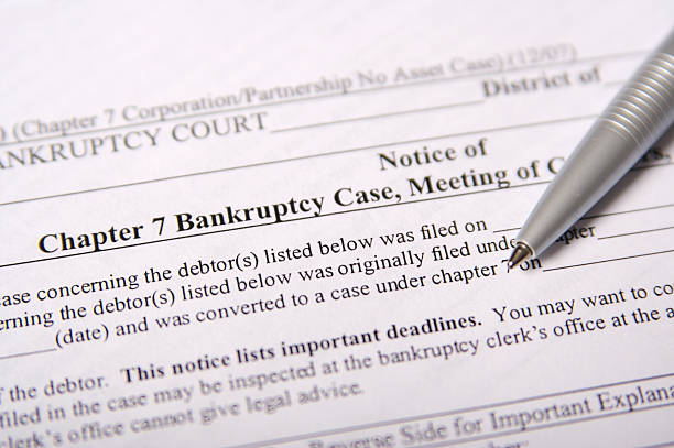chapter 7 bankruptcy paperwork - bankruptcy stock pictures, royalty-free photos & images