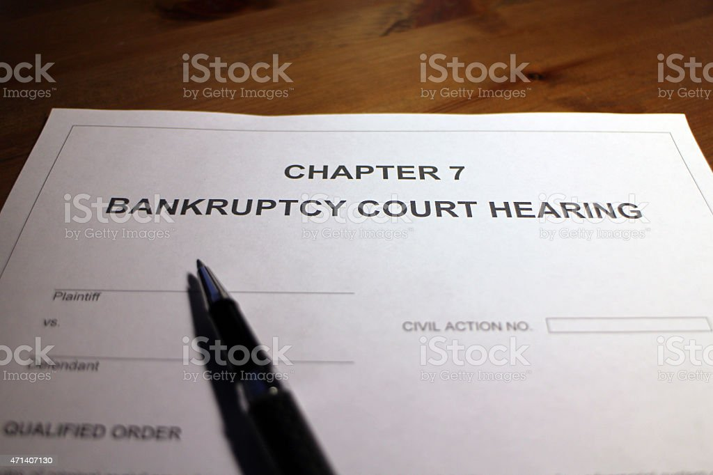 Chapter 7 Bankruptcy stock photo