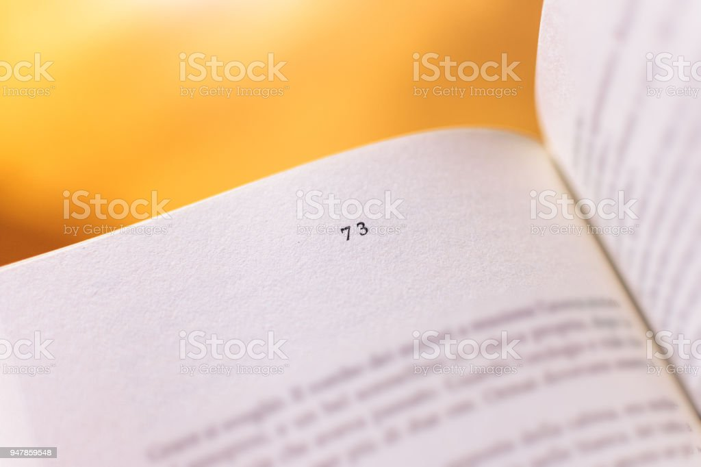 Chapter 73 of a Reading Book stock photo
