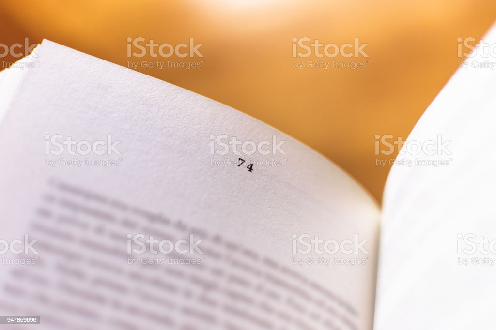 Chapter 74 of a Reading Book stock photo