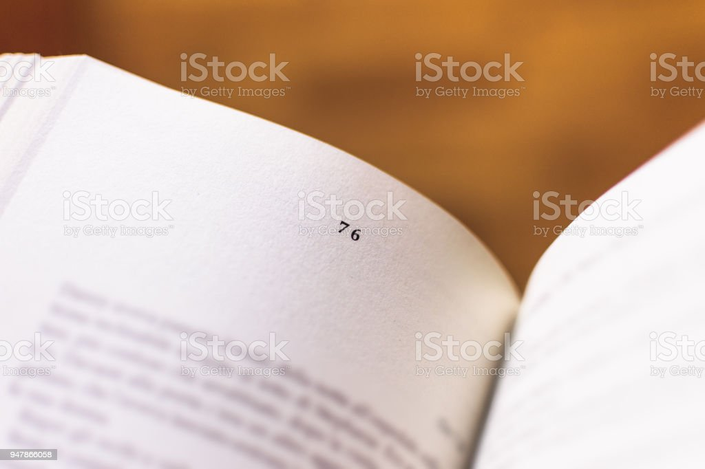 Chapter 76 of a Reading Book stock photo