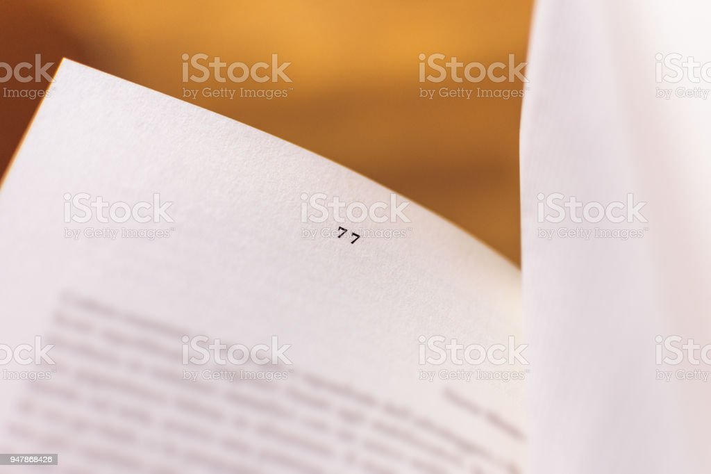 Chapter 77 of a Reading Book stock photo
