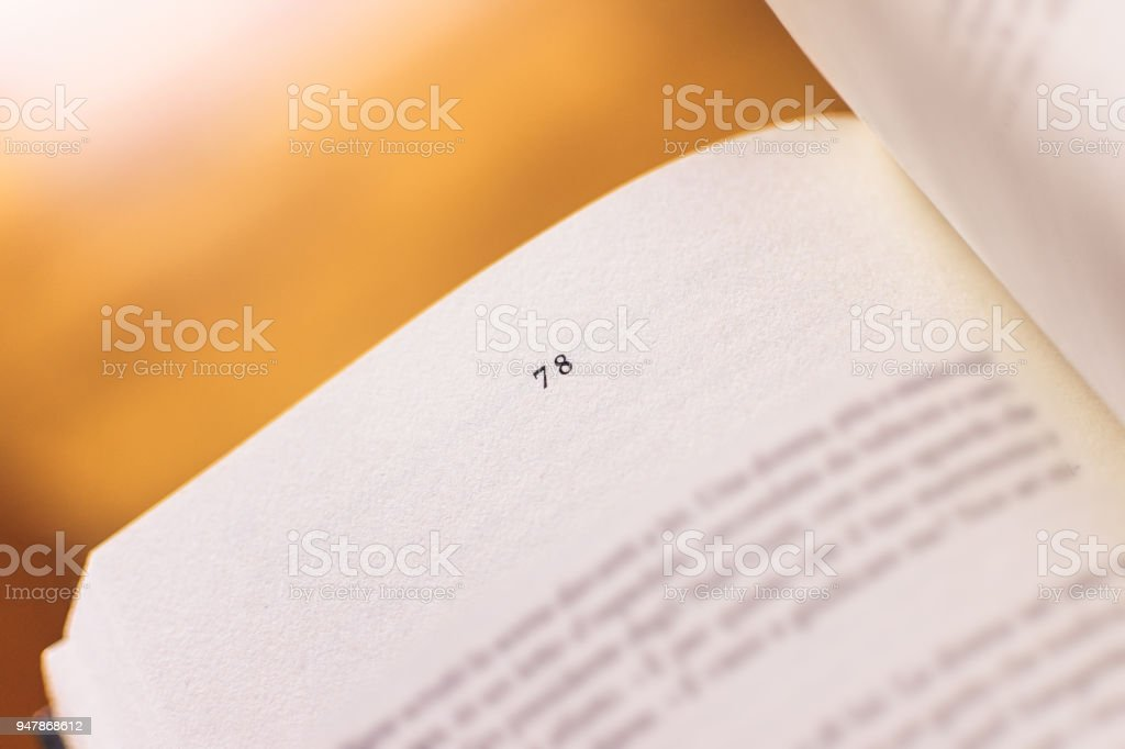 Chapter 78 of a Reading Book stock photo