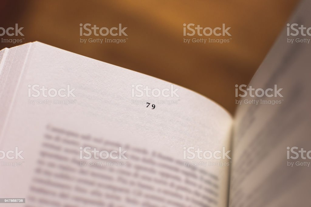 Chapter 79 of a Reading Book stock photo