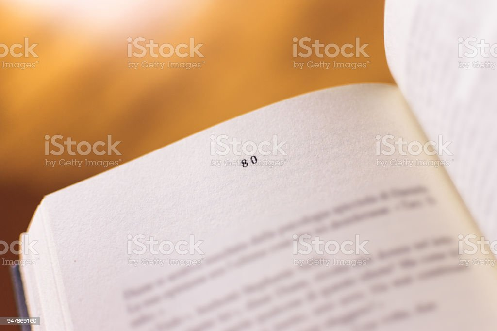 Chapter 80 of a Reading Book stock photo