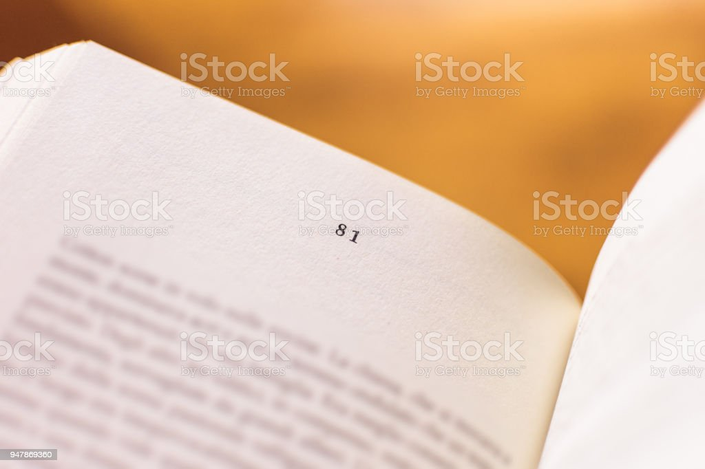 Chapter 81 of a Reading Book stock photo