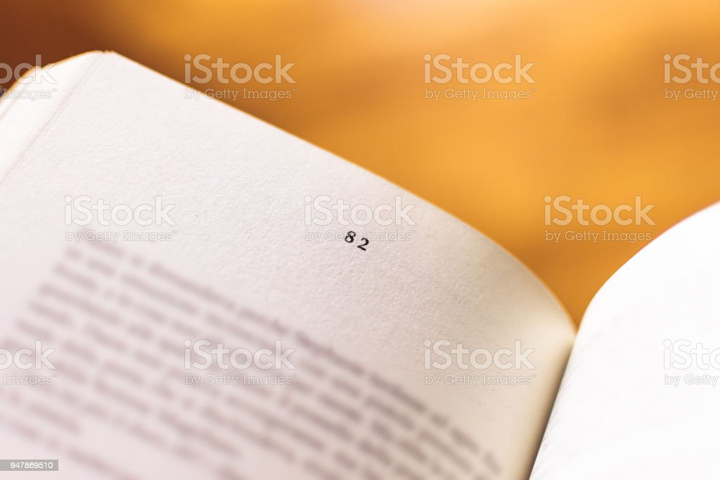 Chapter 82 of a Reading Book stock photo