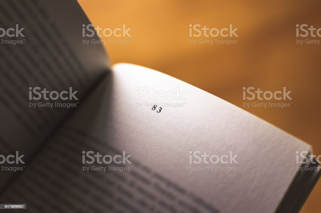 Chapter 83 of a Reading Book stock photo