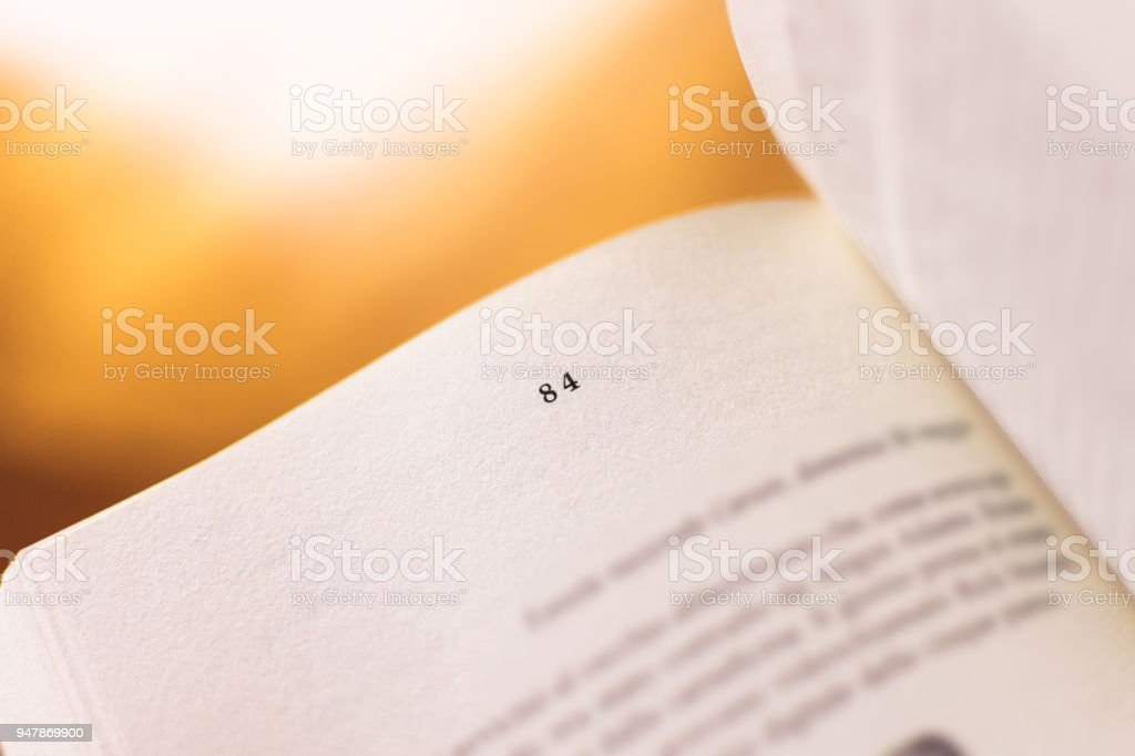 Chapter 84 of a Reading Book stock photo