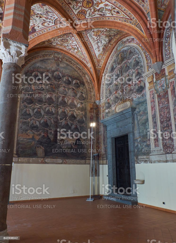 Chapter Hall of San Lorenzo Maggiore. Naples, Italy. stock photo