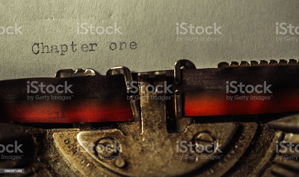 'Chapter one' typed using an old typewriter stock photo