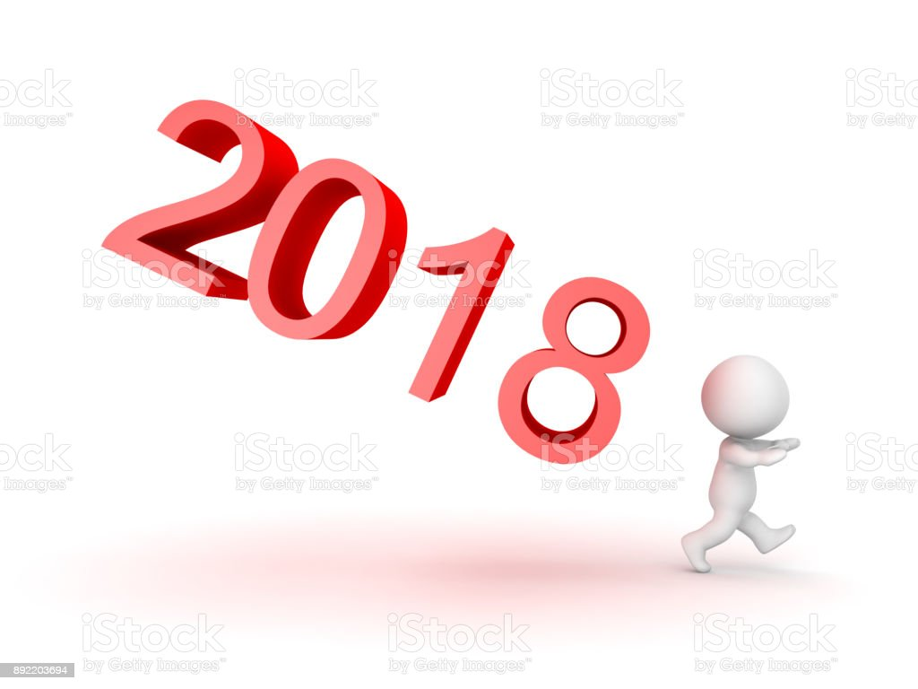 3D Character afraid of the new year 2018 stock photo
