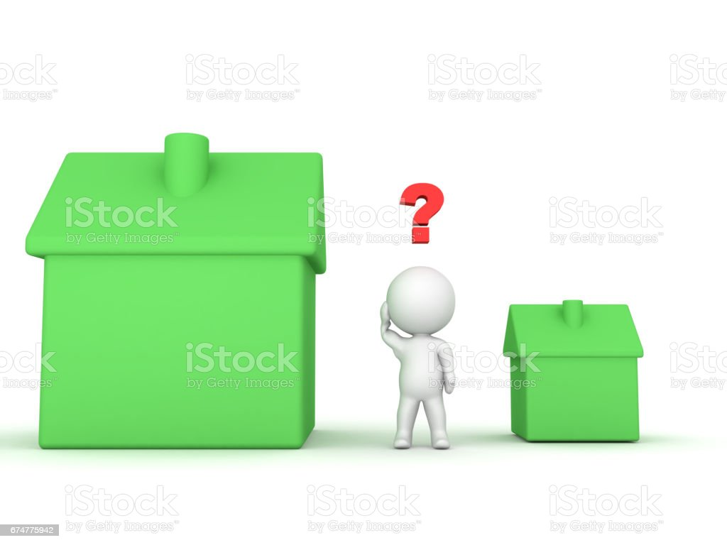 3D Character can't choose between small and large house stock photo