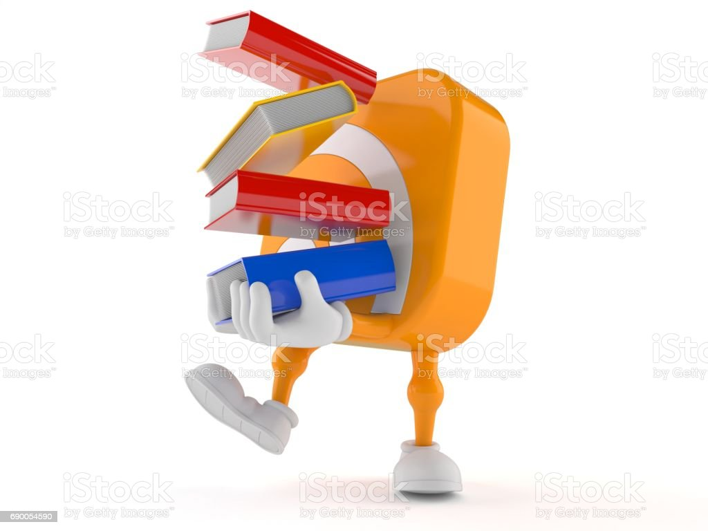 RSS character carrying books stock photo