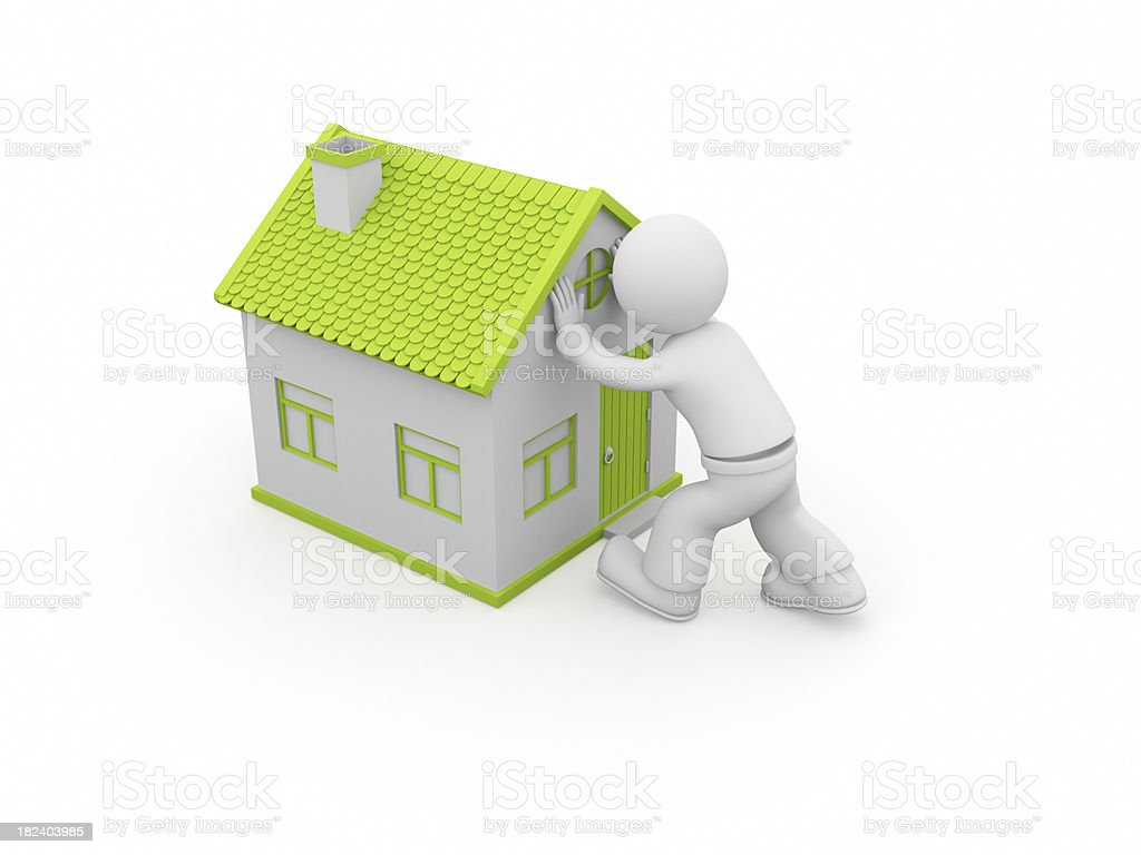 3D character carrying the house. royalty-free stock photo