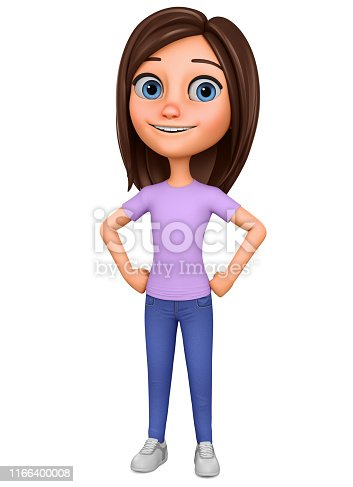 Character cartoon girl on a white background. Illustration for advertising.