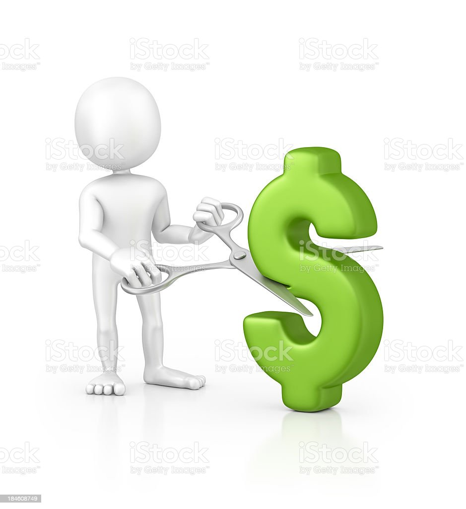 character cutting dollar sign royalty-free stock photo
