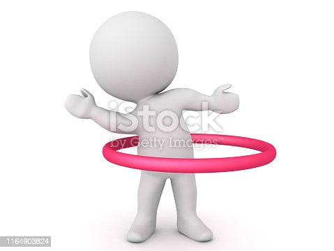 3D Character dancing with red circle hoop around him. 3D Rendering isolated on white.