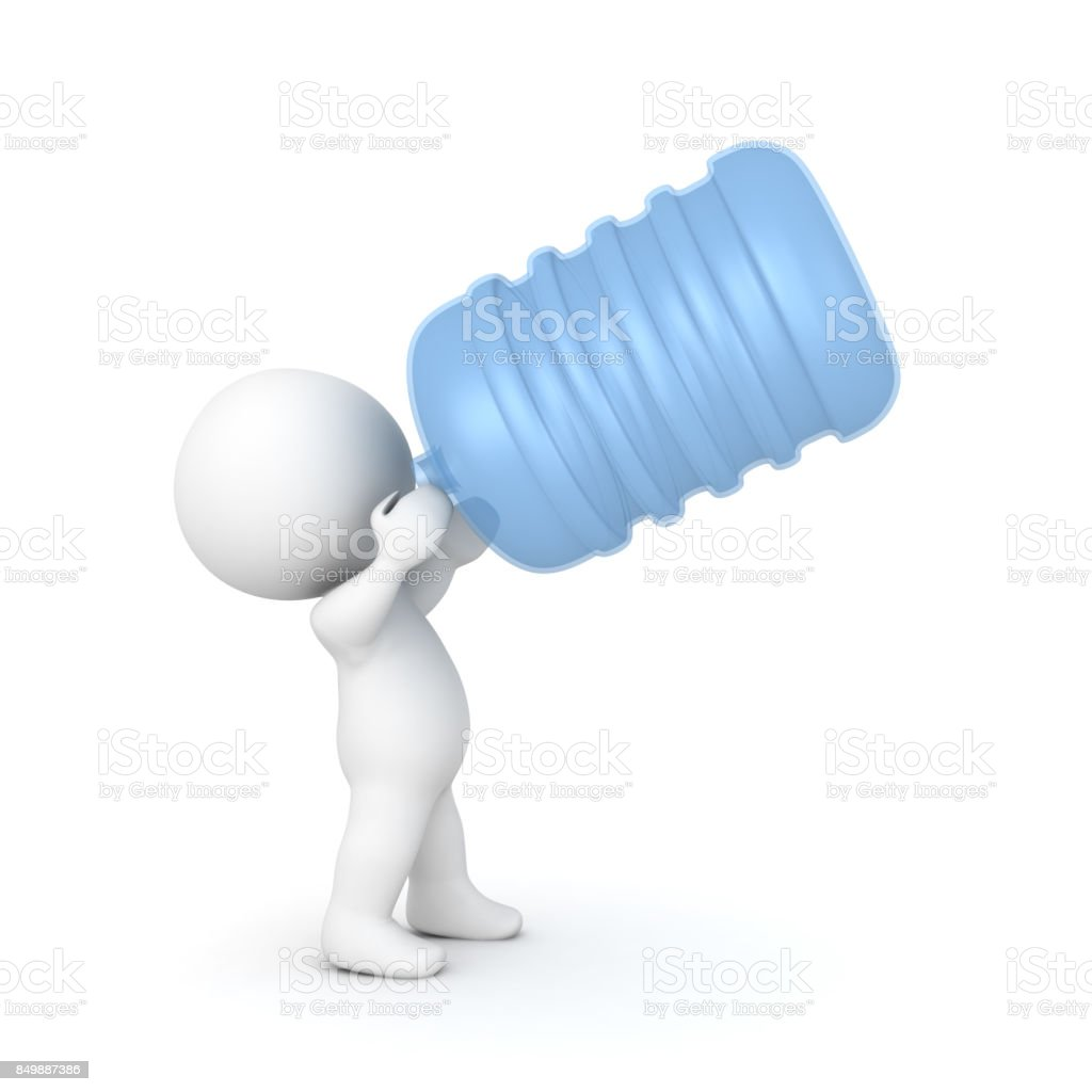 3D Character drinking out of a big water jug stock photo
