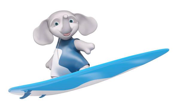 figur elefant surfer mit surfbrett isoliert 3d-rendering - digital surfer stock-fotos und bilder
