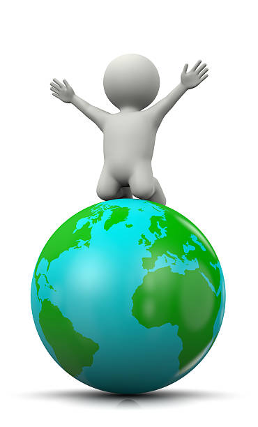 3D Character Exulting on top of the World White 3D Character Exulting on top of the World 3D Illustration on White Background maffick stock pictures, royalty-free photos & images