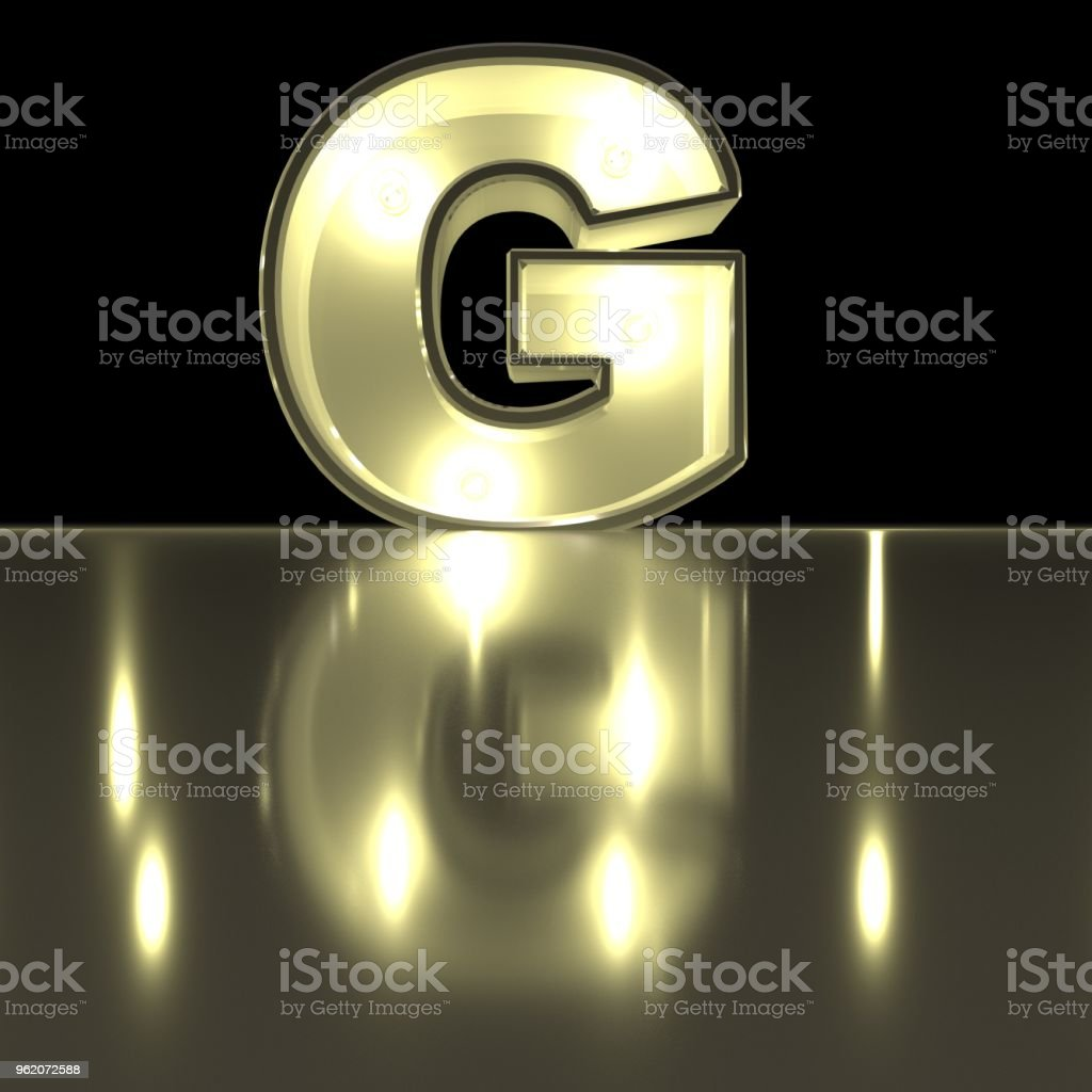 Character G font with reflection. Light bulb glowing letter alphabet. Capital symbol on black background. 3d rendering stock photo