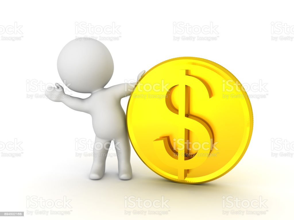 3D Character hiding and waving from behind golden dollar coin stock photo
