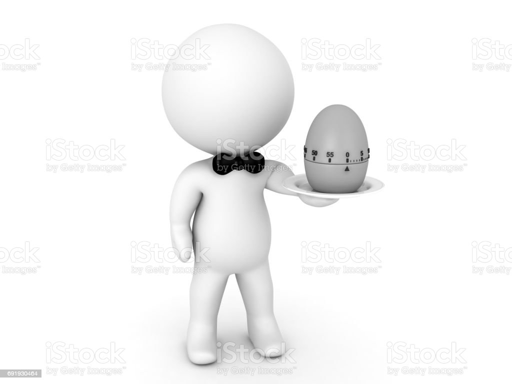 3D Character holding a pomodor egg timer on a plate stock photo