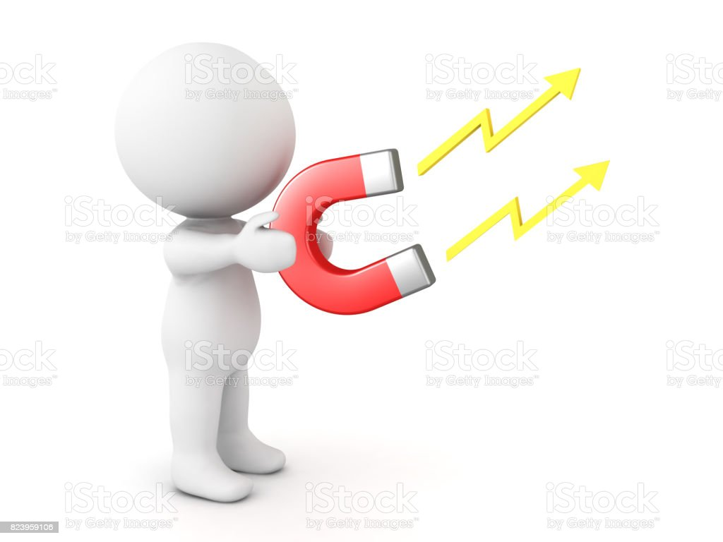 3D Character holding in his hands electromagnet stock photo